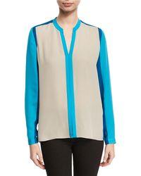 Elie Tahari - Layne Long-sleeve Colorblocked Silk Blouse - Lyst