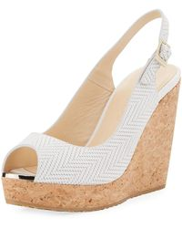 Jimmy Choo - Prova Textured Cork-wedge Sandal - Lyst