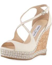 Jimmy Choo - Dakota Wedge Espadrille Sandals Off White - Lyst