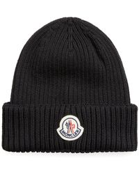 Moncler - Ribbed Beanie Hat Black - Lyst