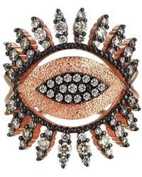 Kismet by Milka 14k Rose Gold Eye Regina Ring In Champagne Diamonds, Size 7 - Metallic