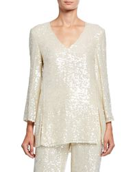 Sally Lapointe Sequined Jersey Tunic - Natural
