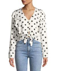 Bardot - Tie-front Long-sleeve Dot-print Shirt - Lyst