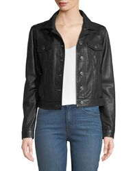 Neiman Marcus - Cropped Button-front Leather Jacket - Lyst