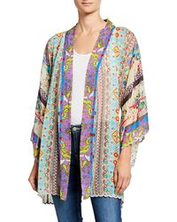 Johnny Was - Plus Size Ariana Mixed Media Rayon Georgette Kimono - Lyst