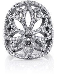 Sheryl Lowe Diamond Lotus Cutout Ring, Size 7 - Metallic