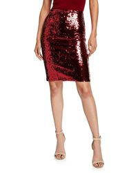Alice + Olivia Ramos Sequin Fitted Skirt - Red