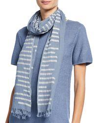 Eileen Fisher Organic Cotton Jamdani Bars Scarf - Blue