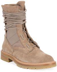 Amiri Men's Mesh-inset Suede Combat Boots - Brown