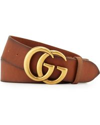 988ba46db37 Lyst - Gucci Leather Belt With Double G Buckle in Brown for Men