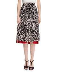 N°21 - Pleated Leopard-print Draped Silk Midi Skirt - Lyst