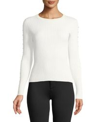 Jonathan Simkhai - Ribbed Long-sleeve Stapled Knit Top - Lyst