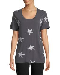 Monrow - Star-print Scoop-neck Short-sleeve Relaxed Shirt - Lyst