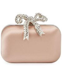 Jimmy Choo Cloud Bos Satin Clutch Bag With Crystal Bow - Pink