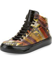 db913952936 Jimmy Choo - Belgravia Men s Python   Patent Leather High-top Sneaker - Lyst