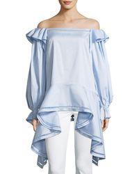 Zac Posen - Off-the-shoulder Stretch Cotton-poplin Top - Lyst