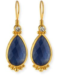 Gurhan Elements 24k Constantine Sapphire Teardrop Earrings - Blue
