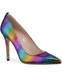ef5aab84996 Aquazzura Rainbow Suede Pointy Toe Pump - Lyst