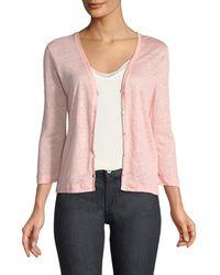Neiman Marcus - Linen Flat-edge Cardigan Sweater - Lyst