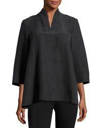 Eileen Fisher 3/4-sleeve High-collar Doupioni Silk Blouse - Black