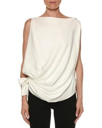 Tom Ford - Draped Sleeveless Tie-side Blouse - Lyst
