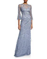 THEIA Hand Beaded & Petal Applique 3/4 Bell-sleeve Column Gown - Blue