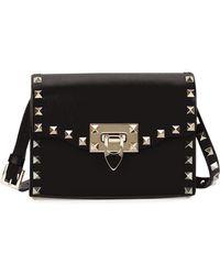 Valentino - Rockstud Mini Leather Flap Shoulder Bag - Lyst