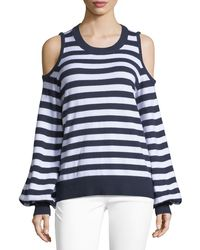 MICHAEL Michael Kors - Striped Cold-shoulder Sweater - Lyst