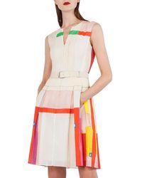 Akris - Sleeveless Cotton Voile Mural-print Pleated Skirt Short Dress - Lyst