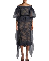 Marchesa Off-the-shoulder Organza Balloon Sleeve Lace Blouse - Blue