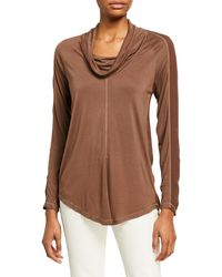 XCVI Madelina Cowl Neck Long-sleeve Jersey Top - Brown
