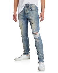 Purple Men's Dropped-fit Distressed Jeans - Blue