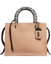 bee8d5a7f COACH Rogue With Embellished Handle In Glovetanned Pebble Leather in Green  - Lyst