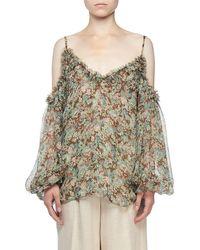 Stella McCartney - Cold-shoulder Meadow Floral Print Blouse - Lyst