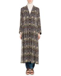 Chloé - Long-sleeve V-neck Button-front Blossom-print Georgette Duster Jacket - Lyst