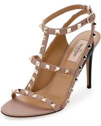 Valentino | Rockstud Colorblock Caged 100mm Sandal | Lyst