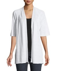 Eileen Fisher - Half-sleeve Organic Linen Cardigan - Lyst