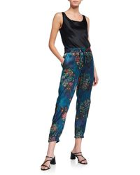 Johnny Was Marcelle Floral-print Stretch Silk Pants - Blue