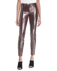 J Brand - L8001 Mid-rise Metallic Leather Leggings - Lyst