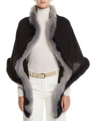 Loro Piana - Oval Cashmere Shawl W/ Fur Trim - Lyst