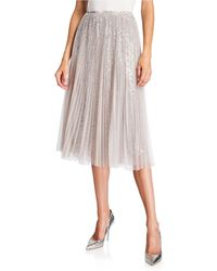 Loyd/Ford Sequined Tulle Layered Midi Skirt - Gray