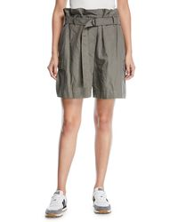 Brunello Cucinelli - Cotton Paperbag Cargo Shorts With D-ring Waistbelt - Lyst