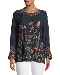 Johnny Was - Gella Floral-embroidered Long-sleeve Top - Lyst