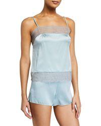 Samantha Chang Classic Silk Pajama Shorts - Blue
