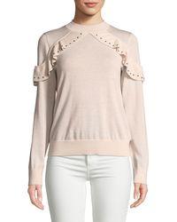 Kate Spade - Ruffle Studded Wool Sweater - Lyst