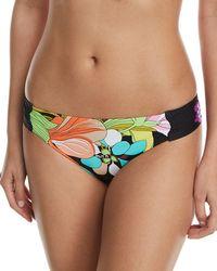 Trina Turk - Bouquet Floral-print Shirred-side Hipster Swim Bikini Bottoms - Lyst