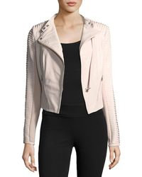 Lamarque - Stripped Leather Motorcycle Jacket - Lyst