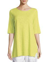 Eileen Fisher - Half-sleeve Linen-blend Tunic Petite - Lyst