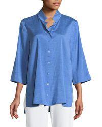 Eileen Fisher - Doupioni Stand-collar Silk Shirt - Lyst