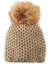 Inverni - Cashmere Beanie Hat W/ Fur Pompom - Lyst